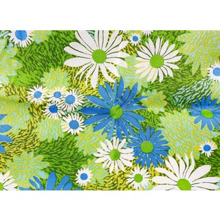 Upholstery Drapery Weight Retro Sateen Daisies Fabric For Sale