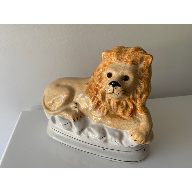 Figurative Staffordshire Earthenware Recumbent Lion With Glass Eyes For Sale - Image 3 of 3