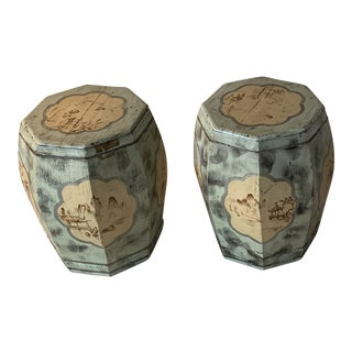 Chinese Hand Painted Wooden Rice Barrels - a Pair For Sale