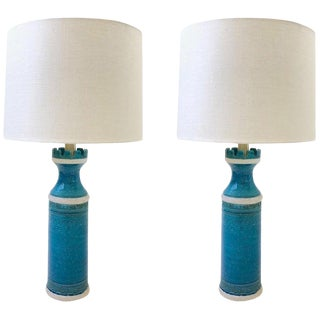 Italian Ceramic and Brass Table Lamps by Aldo Londi for Bitossi - a Pair For Sale