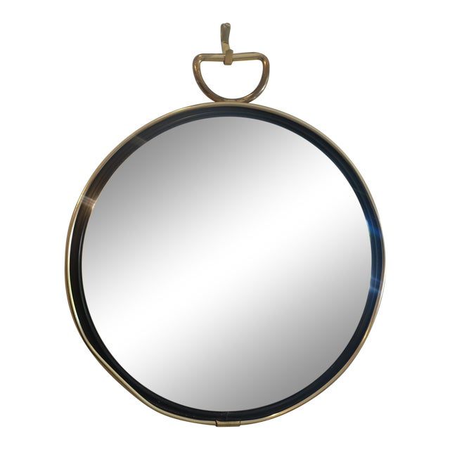 Small Brass Framed Round Mirror For Sale