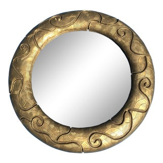 Round Gold Ceramic Mirror - 14 Inch For Sale