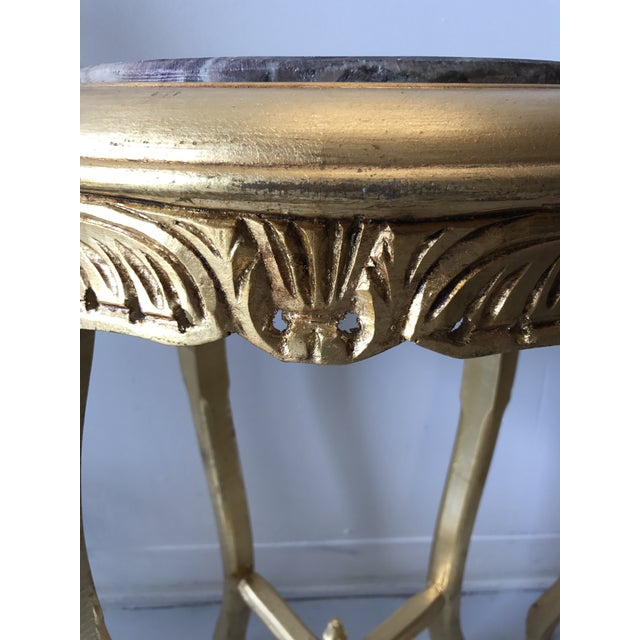 Gilded Marble Top Side Tables - A Pair For Sale In Atlanta - Image 6 of 8
