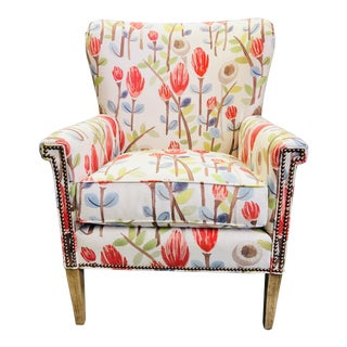 Transitional Floral Upholstered Wing Chair For Sale