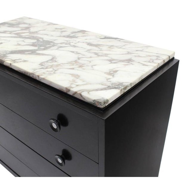 Pair of Marble-Top American Mid-Century Modern Bachelor Chests For Sale - Image 4 of 7