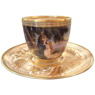 1910s Traditional Ambrosius Lamm Hand-Painted Cabinet Piece Cup and Saucer - 2 Pieces