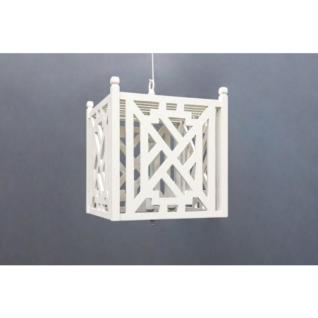 Modern Wood Geometric Brighton White Cube Lantern For Sale - Image 9 of 9