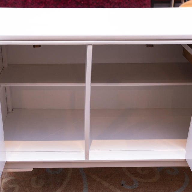 Vintage 3-Door White Lacquer Console - Image 6 of 6