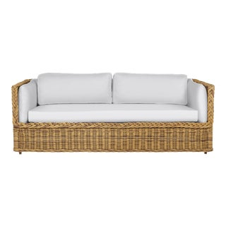 Wicker Works Squareback Sofa in Natural For Sale