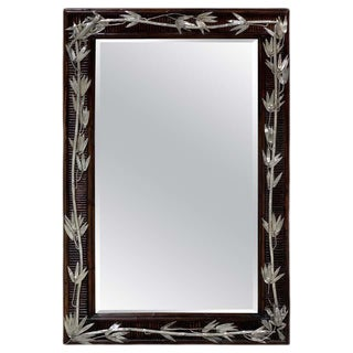 Aesthetic Style Faux Bamboo Silverplated Mirror by Maitland Smith For Sale