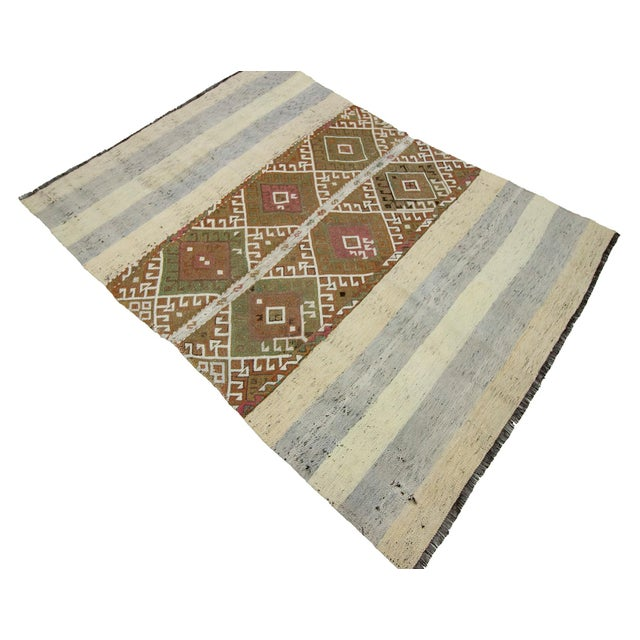 Mid-Century Modern Mid 20th Century Vintage Small Kilim Rug-4′3″ × 5′9″ For Sale - Image 3 of 7