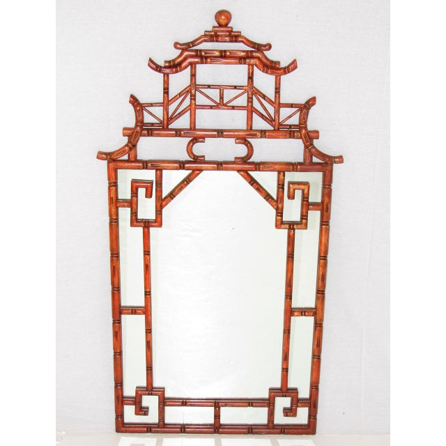 Red Antique Chinoiserie Faux Bamboo Painted Mirror For Sale - Image 8 of 8