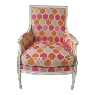 French Sherrill Lilian August Paint Decorated Modern Print Bergere Chair For Sale