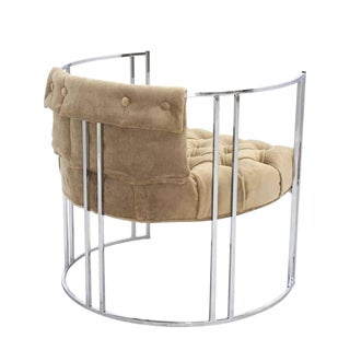 Chrome Lounge Chair New Mohair Upholstery For Sale