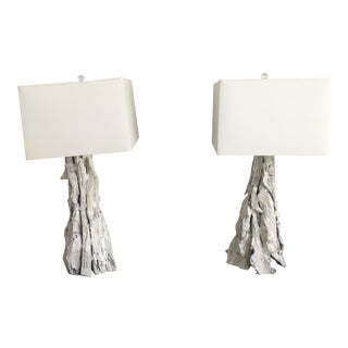 Organic Modern Arteriors Washed Wood Lamps - a Pair For Sale