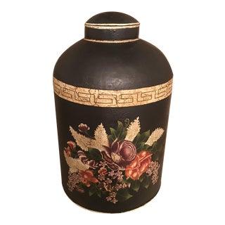 English Black Floral Design Tea Caddy For Sale
