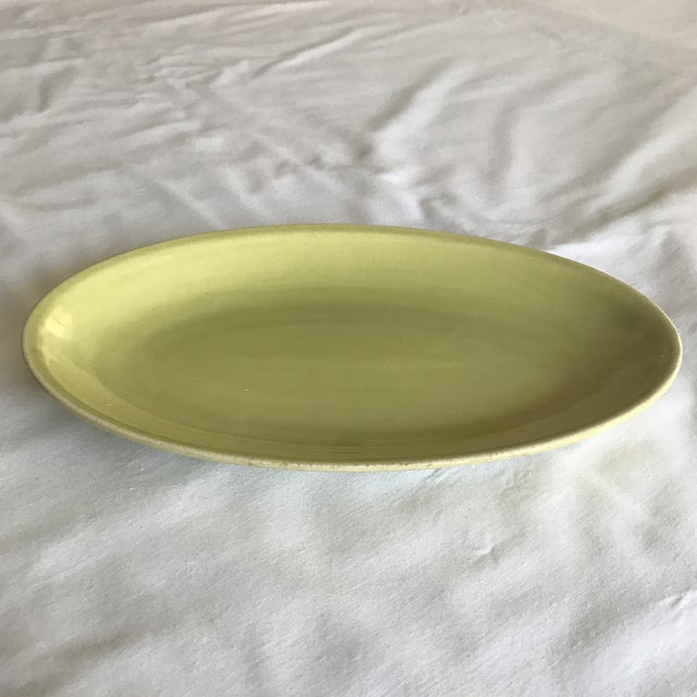 Mid-Century Modern 1951 Paden City Pottery Chartreuse Platter For Sale - Image 3 of 7