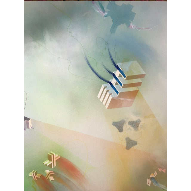 "Airbrush Anita Mills 1979 Mixed Media ""Chronique Number Two"" For Sale - Image 7 of 11"