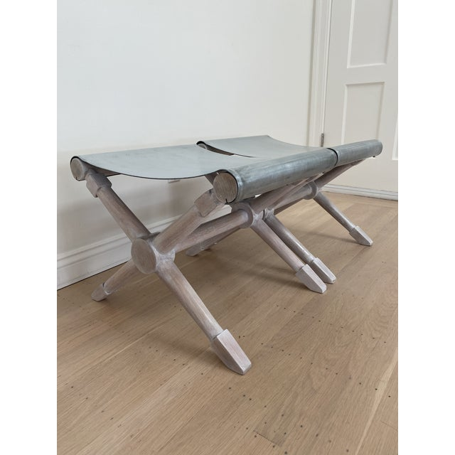 1960s Mid-Century Modern Cerused Finish X-Bench - a Pair For Sale - Image 5 of 13