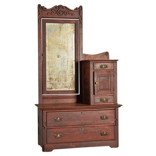 Victorian Gentleman's Dresser W/ Weathered Mirror Circa 1895