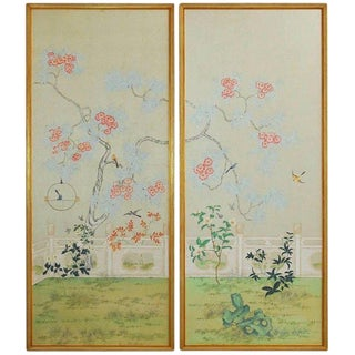 Chinoiserie Flora and Fauna Painted Panels by Robert Crowder For Sale