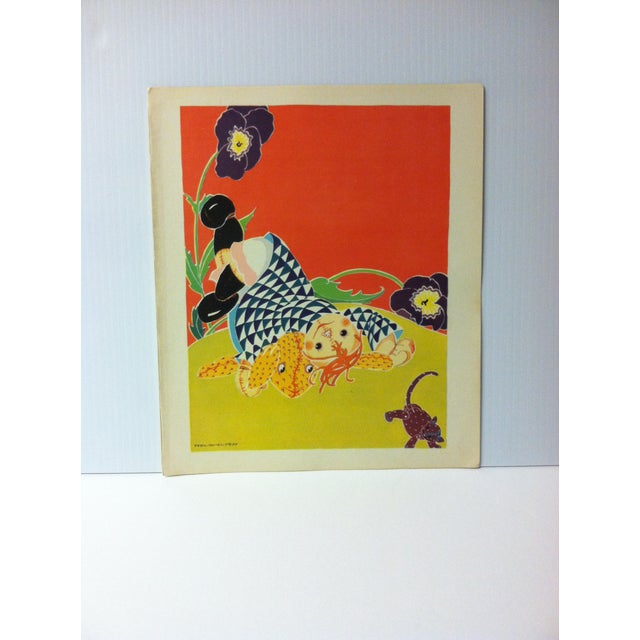 """Vintage Rag Doll Jane Print, """"She Fell Over Something That Barked Like a Dog and Mewed Like a Cat"""", Saalfiled Pub 1930 For Sale - Image 4 of 4"""