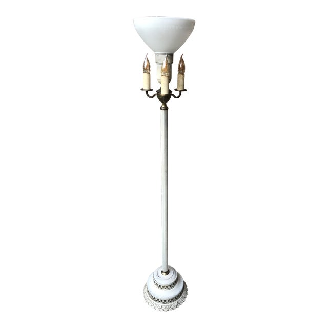White Art Nouveau Floor Lamp With Night Light In Base Chairish