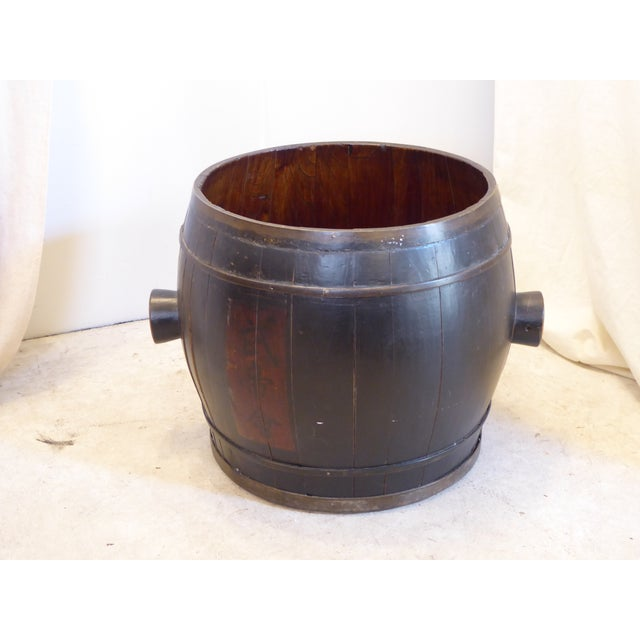 Late 19th Century Vintage Japanese Black Laquered Barrel For Sale - Image 5 of 5