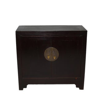 Asian Two Door Two Shelves Reddish Brown Chest