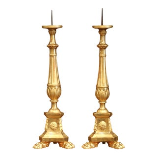 19th Century Italian Carved Giltwood Cathedral Candlesticks - a Pair