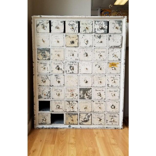 Cottage Vintage Industrial Primitive Metal Drawer Organizer Unit For Sale - Image 3 of 10