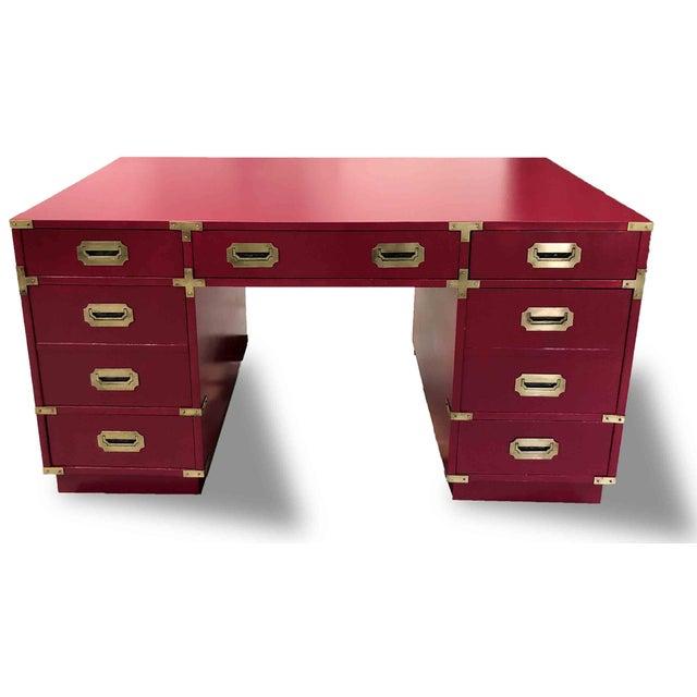 Bernhardt 1970s Campaign Partner Desk By Bernhardt For Sale - Image 4 of 10