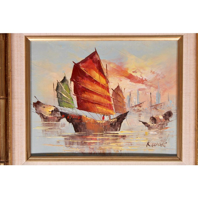 Vintage Coastal Nautical Sailboat Oil Painting For Sale In Tulsa - Image 6 of 11