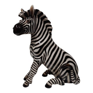 "1950s Italian Porcelain 18"" Zebra With Makers Marks For Sale"