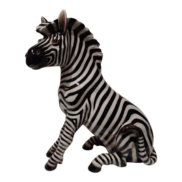 """1950s Italian Porcelain 18"""" Zebra With Makers Marks For Sale"""