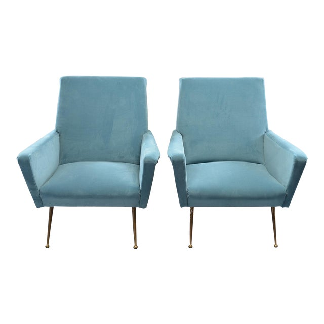 Mid-Century Italian Arm Chairs With New Sky Blue Upholstery - a Pair For Sale