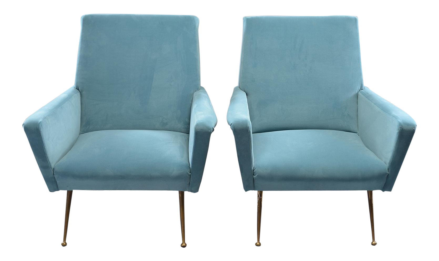 Mid Century Italian Arm Chairs With New Sky Blue Upholstery   A Pair For  Sale