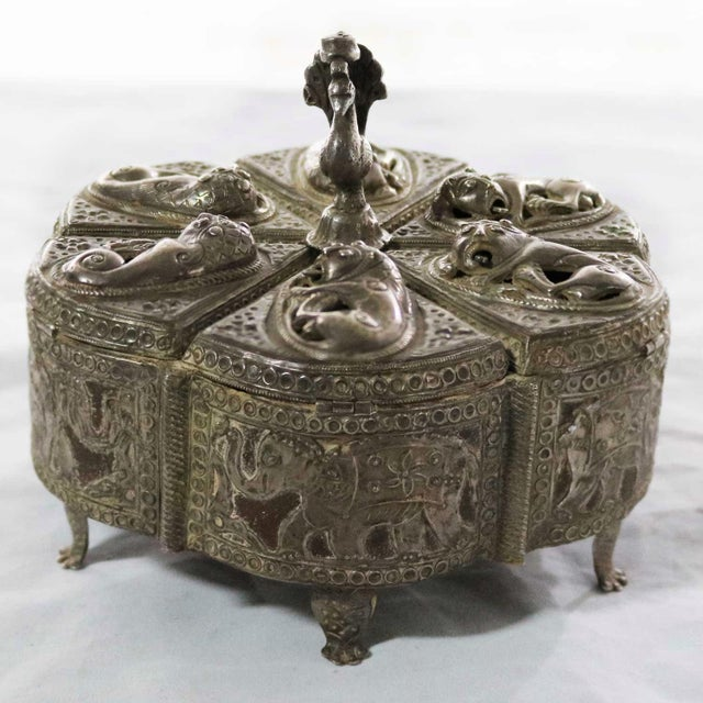 Antique India Pierced Silver Overlay Spice Box With Six Compartments For Sale - Image 13 of 13
