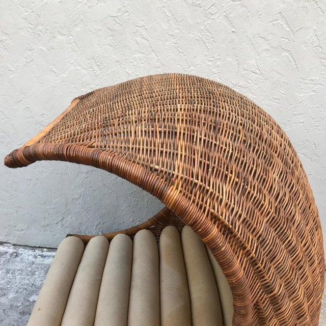 "Wood Italian Midcentury ""Wave"" Rattan Lounge For Sale - Image 7 of 12"