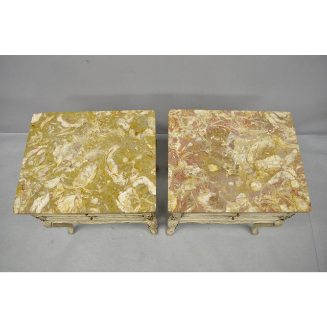 1950s French Louis XV Marble Top Nightstands - a Pair For Sale In Philadelphia - Image 6 of 11