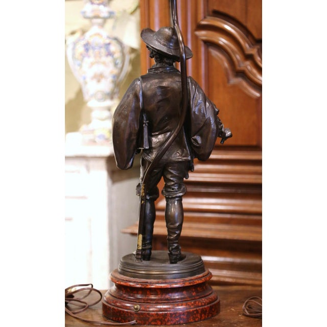 Black 19th Century French Spelter Renaissance Figures Made Into Table Lamps - a Pair For Sale - Image 8 of 13