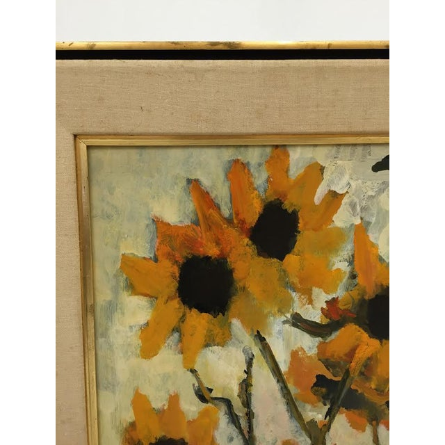 Vintage Original Elva Levy Framed & Signed Sunflower Painting For Sale - Image 10 of 11