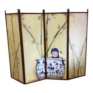 Hand Painted 4-Panel Asian Screen For Sale