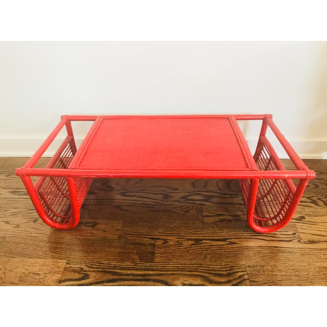 Vintage Red Bamboo Tray Table or Magazine Rack - Image 5 of 5