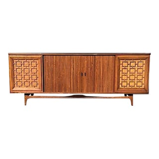 Mid-Century Sideboard With Tambour Doors and Rattan Accents For Sale