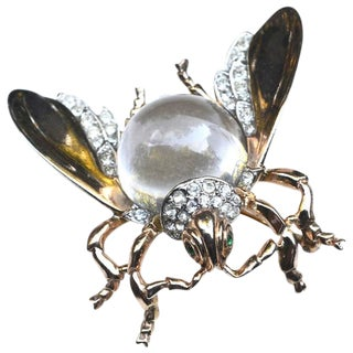 Rare Large Trifari Jelly Belly Fly Brooch / Insect For Sale