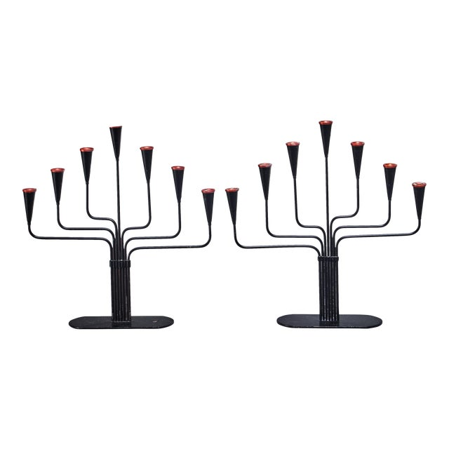 Pair of Gunnar Ander Candelabras for Ystad, Sweden, 1960s For Sale