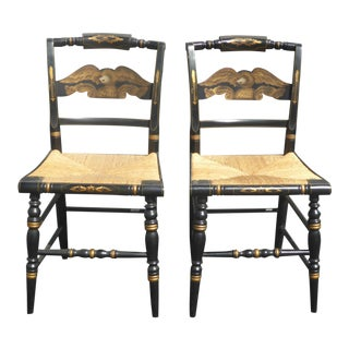 Vintage Pair of L. Hitchcock Federal Black Eagle Chairs With Rye Seats For Sale