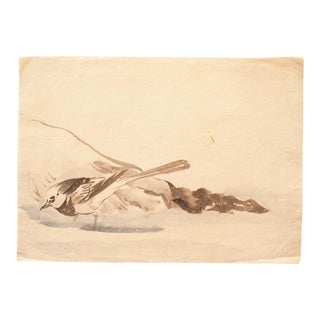 19th Century Meiji Era Japanese Watercolor of White Wagtail For Sale