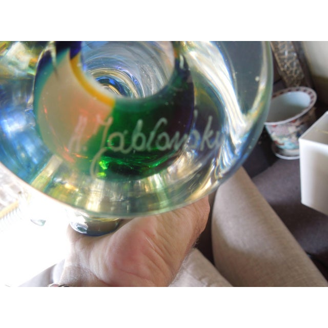 Multi-Color Modern Art Polish Crystal Glass Sculpture For Sale - Image 4 of 8